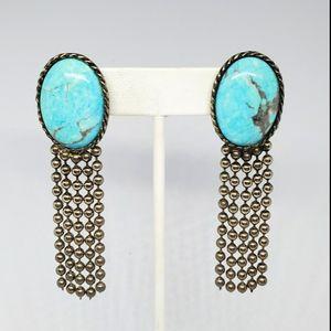 Vintage Carol Dauplaise Faux Turquoise Earrings